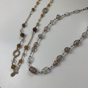 Vintage Amber Beaded Necklaces Boho